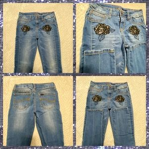 Lee skinny Girls jeans with floral details size 12